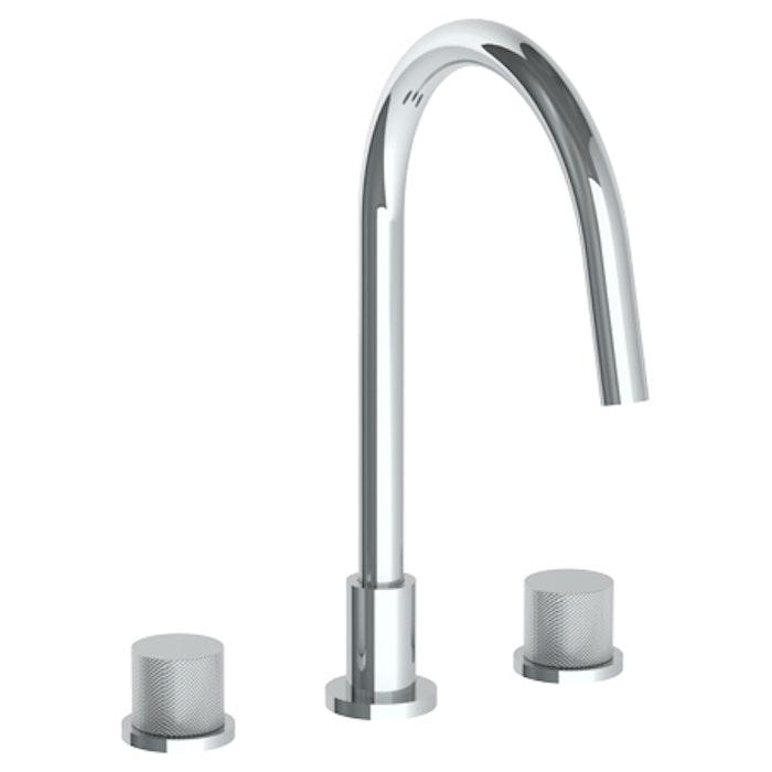 Titanium 22 - Deck Mounted 3 Hole Gooseneck Kitchen Faucet ...